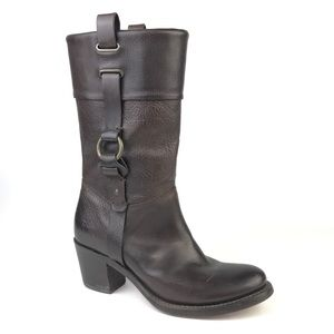 Frye Jane Harness Brown Leather Boots Brown Heeled
